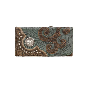 American West Annie's Secret Tri-Fold Wallet - Turquoise & Brown - Ladies' Western Handbags And Wallets | Spur Western Wear
