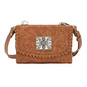 American West Texas Two Step Crossbody Bag/Wallet - Golden Tan - Ladies' Western Handbags And Wallets | Spur Western Wear