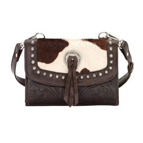 American West Texas Two Step Crossbody Bag/Wallet - Chocolate & Pony Hair - Ladies' Western Handbags And Wallets | Spur Western Wear