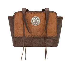American West Annie's Secret Concealed Carry Zip-Top Tote - Golden Tan & Brown - Ladies' Western Handbags And Wallets | Spur Western Wear