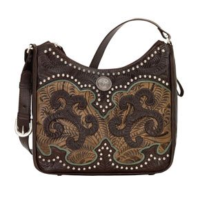 American West Annie's Secret Concealed Carry Shoulder Bag - Chocolate & Brown - Ladies' Western Handbags And Wallets | Spur Western Wear