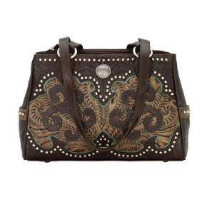 American West Annie's Secret Concealed Carry Tote - Chocolate & Brown - Ladies' Western Handbags And Wallets | Spur Western Wear