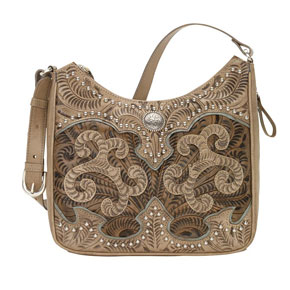 American West Annie's Secret Concealed Carry Shoulder Bag - Sand & Brown - Ladies' Western Handbags And Wallets | Spur Western Wear
