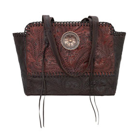 American West Annie's Secret Concealed Carry Zip-Top Tote - Distressed Crimson - Ladies' Western Handbags And Wallets | Spur Western Wear
