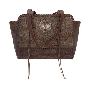 American West Annie's Secret Concealed Carry Zip-Top Tote - Charcoal Brown - Ladies' Western Handbags And Wallets | Spur Western Wear