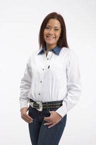 7ddb224decd4 Roper Contrast Collar Long Sleeve Western Shirt - White - Ladies' Western  Shirts | Spur