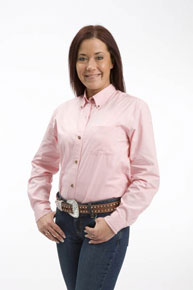 Roper Poplin Long Sleeve Button Front Western Shirt - Pink - Ladies' Western Shirts | Spur Western Wear