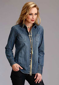 Stetson Denim Boyfriend Fit Long Sleeve Western Shirt - Blue - Ladies' Western Shirts | Spur Western Wear