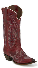 Justin Elina Western Boot - Red - Ladies' Western Boots | Spur Western Wear