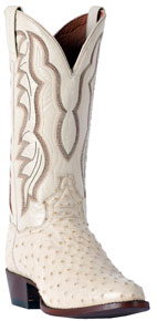 Dan Post Pershing Full Quill Ostrich Western Boot - White - Men's Western Boots | Spur Western Wear