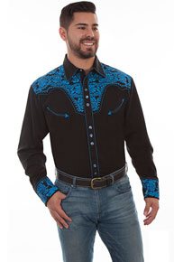 Scully Gunfighter Long Sleeve Snap Front Western Shirt - Black with Royal Roses - Men's Retro Western Shirts | Spur Western Wear