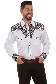 Scully Gunfighter Long Sleeve Snap Front Western Shirt - White with Black Roses - Men's Retro Western Shirts | Spur Western Wear