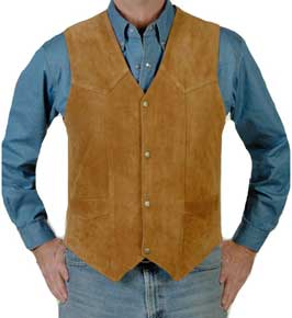Liberty Wear  Tobacco Cow Suede Western Vest, - Men's Leather Western Vests and Jackets | Spur Western Wear