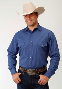 Roper Broadcloth Long Sleeve Snap Front Western Shirt - Smokey Blue - Men's Western Shirts | Spur Western Wear