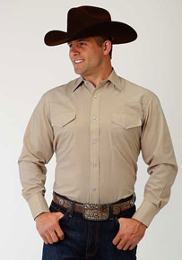 Roper Broadcloth Long Sleeve Snap Front Western Shirt - Stone - Men's Western Shirts | Spur Western Wear