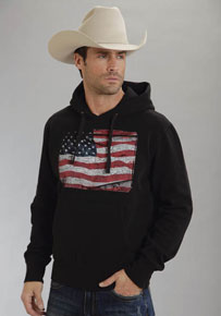 Roper American Flag Pullover Hooded Sweatshirt - Black - Men's Western Outerwear | Spur Western Wear