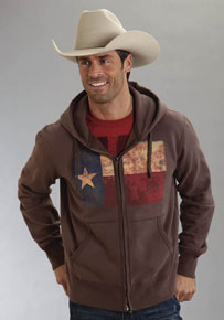 Roper Texas Flag Zip Front Hooded Sweatshirt - Brown - Men's Western Outerwear | Spur Western Wear