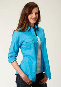 76a91a169114 Roper Broadcloth Long Sleeve Snap Front Western Shirt - Turquoise - Ladies' Western  Shirts