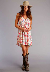Stetson Floral Watercolor Print Dress - Pink - Ladies' Western Skirts And Dresses | Spur Western Wear