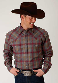 Stetson Brushed Twill Flannel Plaid Long Sleeve Snap Front Western Shirt - Grey & Burgundy - Men's Western Shirts | Spur Western Wear