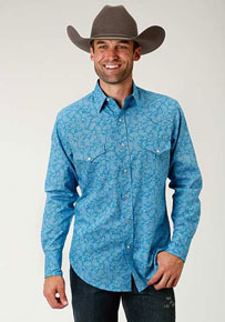 Roper Cactus Paisley Long-Sleeve Snap Front Western Shirt - Blue - Men's Western Shirts | Spur Western Wear