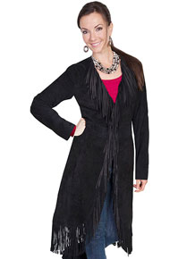 Scully Boar Suede Maxi Leather Jacket - Black - Ladies Leather Jackets | Spur Western Wear