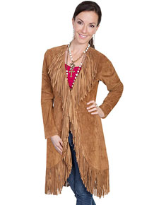 Scully Boar Suede Maxi Leather Jacket - Cinnamon - Ladies Leather Jackets | Spur Western Wear
