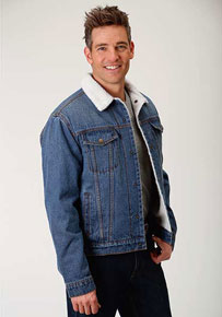 Roper Sherpa-Lined Denim Jacket - Blue - Men's Western Outerwear | Spur Western Wear