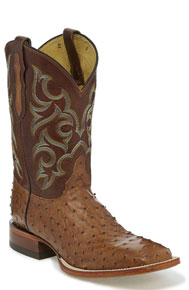 Justin Truman Full Quill Ostrich Western Boot - Cognac - Men's Western Boots | Spur Western Wear