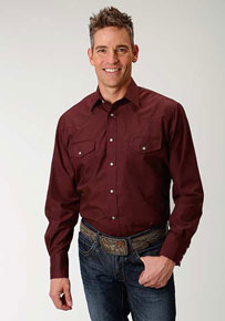 Roper Broadcloth Long Sleeve Snap Front Western Shirt - Wine - Men's Western Shirts | Spur Western Wear