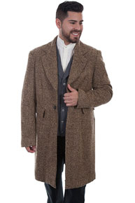 Wah Maker Herringbone Pile Frock Coat - Brown - Men's Old West Vests And Jackets | Spur Western Wear