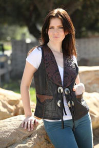Kobler Hand-Tooled Leather Western Vest - Black - Ladies Leather Vests And Jackets | Spur Western Wear
