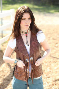 Kobler Hand-Tooled Leather Western Vest - Acorn - Ladies Leather Vests And Jackets | Spur Western Wear