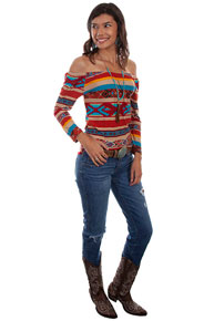 Scully Honey Creek Serape Ballet Top - Ladies' Western Shirts | Spur Western Wear