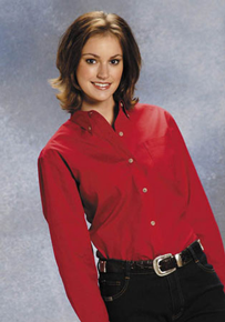 Roper Poplin Long Sleeve Button Front Western Shirt - Red - Ladies' Western Shirts | Spur Western Wear