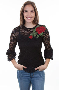 Scully Honey Creek Lace Top - Ladies - Black - Ladies' Western Shirts | Spur Western Wear