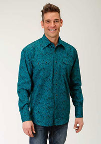 Roper Blue Spruce Paisley Long-Sleeve Snap Front Western Shirt - Blue - Men's Western Shirts | Spur Western Wear