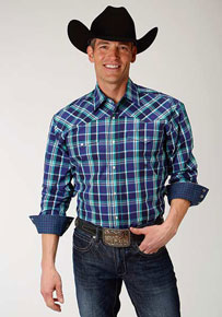 Roper Cold Spring Plaid Long-Sleeve Snap Front Western Shirt - Purple - Men's Western Shirts | Spur Western Wear