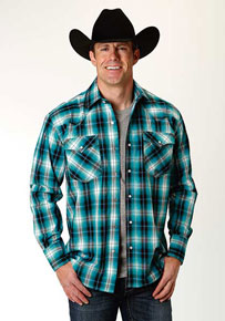 Roper Blue Mesa Plaid Long-Sleeve Snap Front Western Shirt - Blue - Men's Western Shirts | Spur Western Wear