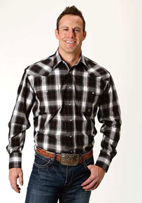 Roper Black Plaid Long-Sleeve Snap Front Western Shirt - Black - Men's Western Shirts | Spur Western Wear