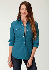 Roper Broadcloth Long Sleeve Snap Front Western Shirt - Teal - Ladies' Western Shirts | Spur Western Wear