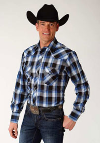 Roper Plaid Long Sleeve Snap Front Western Shirt - Black & Blue - Men's Western Shirts | Spur Western Wear
