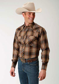 Roper Plaid Long Sleeve Snap Front Western Shirt - Multicolored Brown - Men's Western Shirts | Spur Western Wear
