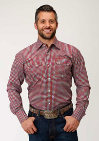 Roper Geo Print Long-Sleeve Snap Front Western Shirt - Red - Men's Western Shirts | Spur Western Wear