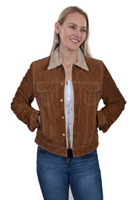 Scully Boar Suede Leather Jean Jacket - Cinnamon - Ladies Leather Jackets | Spur Western Wear