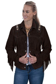 Scully Bead Trimmed Suede Leather Jacket - Expresso - Ladies Leather Jackets | Spur Western Wear