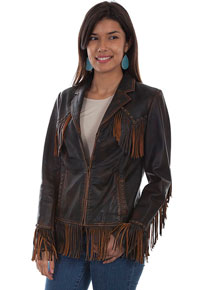 Scully Fringe Trimmed Leather Jacket - Brown - Ladies Leather Jackets | Spur Western Wear