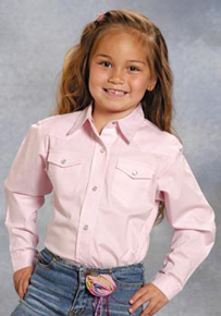 Roper Poplin Long Sleeve Snap Front Western Shirt - Pink - Girls' Western Shirts | Spur Western Wear