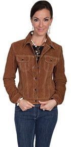 Scully Boar Suede Leather Jean Jacket - Cafe Brown - Ladies Leather Jackets | Spur Western Wear