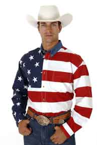 Roper American Flag Long Sleeve Button Front Western Shirt - Tall - Men's Western Shirts | Spur Western Wear